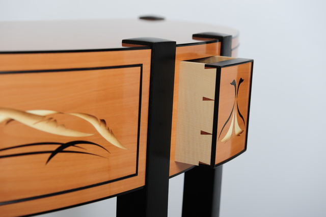 Black Swan by Paul Chilton - Marquetry, Sunburst, Veneer, Side Table, Console