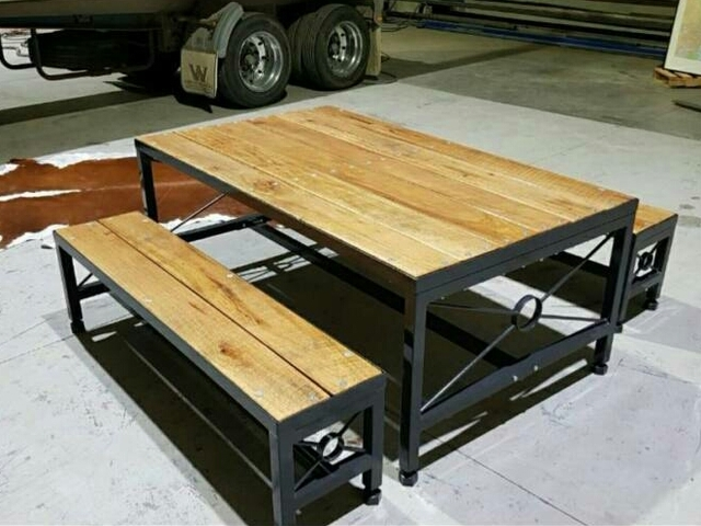Fiesta Dining Table Set by Pioneer Furniture Australia - #Bench, #Table, #Outdoor, #Dining, #Rustic, #Steel, #Metal, #Timber, Patio, Deck