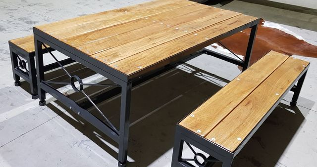 Patio Dining Table Set by Pioneer Furniture Australia - #Bench, #Table, #Outdoor, #Dining, #Rustic, #Steel, #Metal, #Timber, Patio, Deck