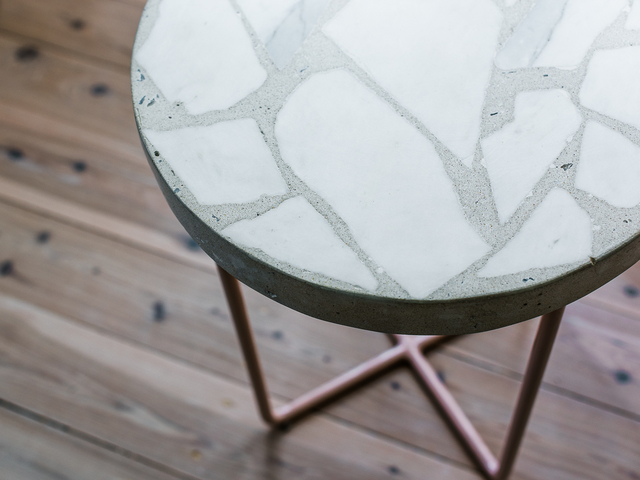 Alpha 01 Side Table by Sarah Kalidis - Terrazzo, Concrete, Steel, Terrazzo Table, Concrete Table, Side Atble, Occasional Stool