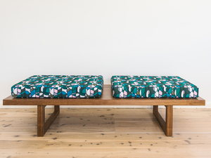Katse Bench by Sarah Kalidis - Bench, Bench Seat, Occasional Seating, Timber Furniture, American Walnut, Upholstery, Textile Design, Bench Cushions