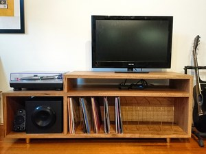 North Melbourne Entertainment by Brett Julian - Entertainment, Record Player, Console, Brass Detail, Spotted Gum