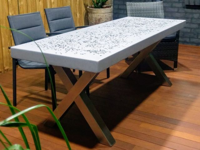La Christina by Pittorino Designs - Outdoor Concrete Table, Dining Table, Polished Concrete, Stainless Steel, Conference Table, Outdoor Table, Concrete, GFRC, Customisable, Durable