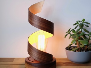 Spiral Desk Lamp by Harelle Design - Lamp, Desk Lamp, Walnut, Sycamore, Lighting, Curved