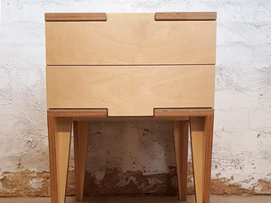 The Jigsaw bedside table by Ruben Made - Bedside Table, Plywood, Bedroom, Drawers, Handmade, Furniture