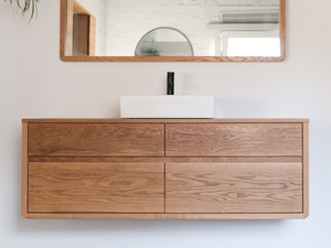 Olson American White Oak Floating Bathroom Vanity with Timber Top by Retrograde Furniture - Bathroom Vanity, American Oak, White Oak