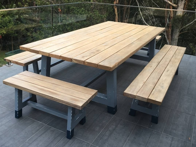 Outdoor Reclaimed Timber Dining Table by Mitch Bourdeau - Reclaimed Timber Furniture, Outdoor Furniture, Recycled Timber Furniture