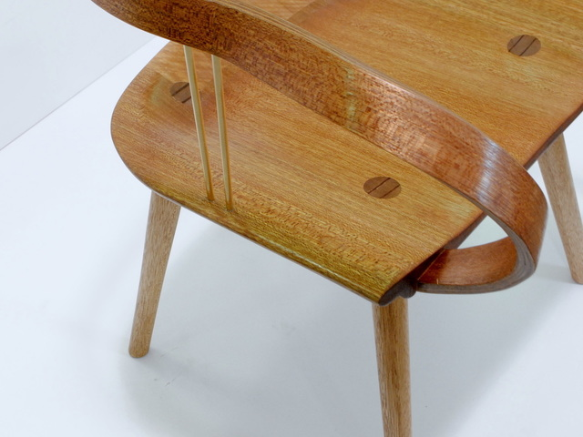Bruco Chair by Giorgia Pisano - Meranti, Brass, Curved Components, Organic Forms, Handmade