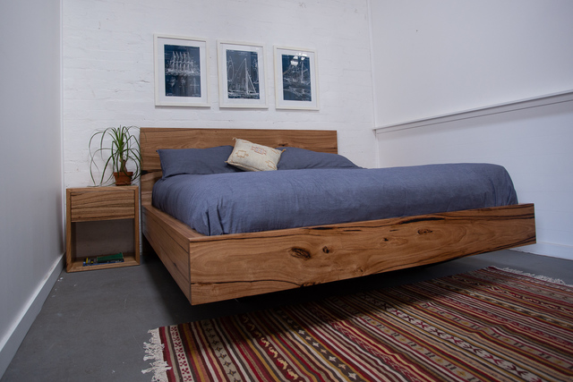 Paul's Timber Floating Bed in Messmate by Retrograde Furniture - Rustic, Custom, Minimalist