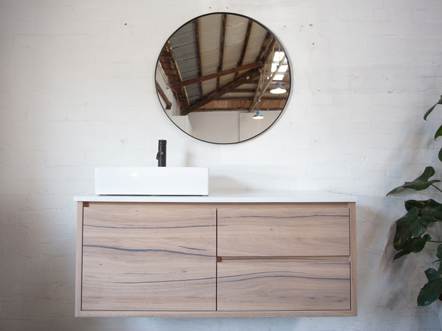 Eliza Timber Floating Bathroom Vanity (with raw finish) by Retrograde Furniture - Minimalist, Modern, Bathroom Vanity