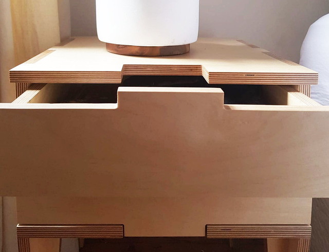 Jigsaw bedside table by Ruben Made - Bedside Table, Plywood, Bedroom, Drawers, Handmade, Furniture