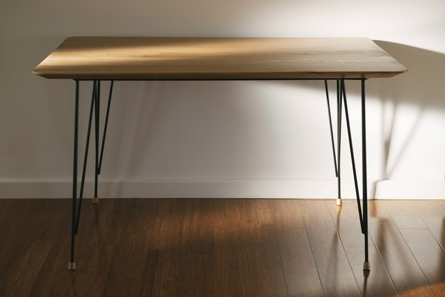 Oak Desk by Remy Tramoy - Oak, Desk, Solid, Turning, Metal, Vintage