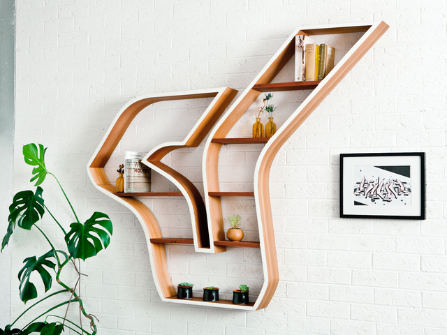 The flow by Luke  Neil - Timber, Bookcase, Shelving, Reclaimed, Recycled, Sculptural