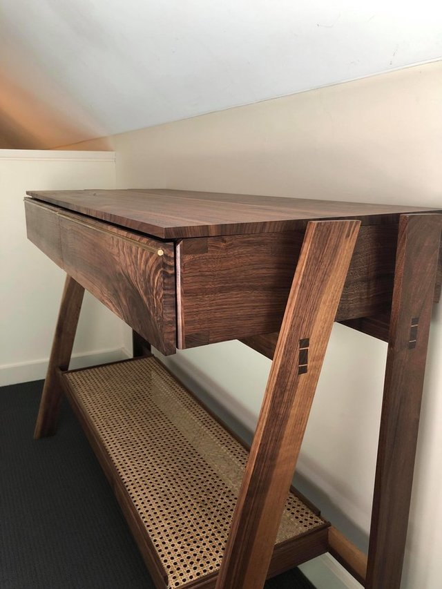 Hall Table - HT1 by Aedan Sykes - Hall Table, Rattan, Walnut, Figured Timber, Minimalist, Japanese, Handmade, Commission, Custom, Bespoke