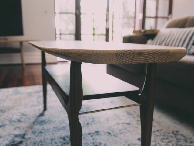 Coffee Table - CT1 by Aedan Sykes - Oak, Walnut, Brass, Midcentury Modern, Organic, Coffee Table, Commission, Custom, Bespoke