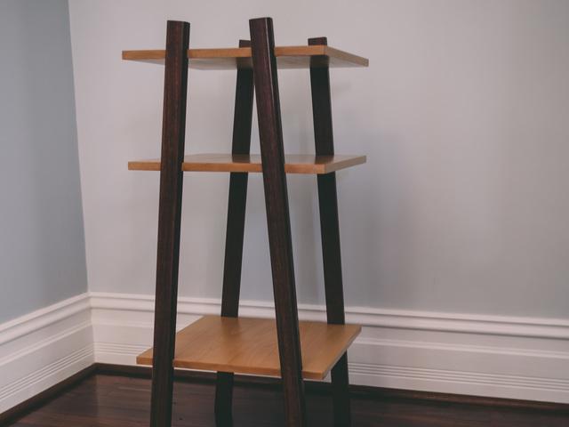 Standing Shelf - SS1 by Aedan Sykes - Shelving, Open Shelving, Minimalist, Japanese, Contrast, Monochrome, Jarrah, Beech