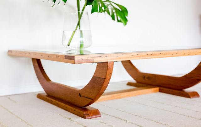 Daintree Coffee Table by Hold Fast Designs - Coffee Table, Recycled, Reclaimed, Messmate, Glass