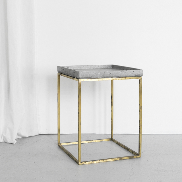 SLABS by Design | SoHo Concrete Side Table -Tray Top by SLABS by Design - Commercial Furniture, Hand Made Furniture, Custom Design, Outdoor Furniture, Concrete Side Table, Concrete Bedside Table, Steel Side Table, Concrete, Minimalist