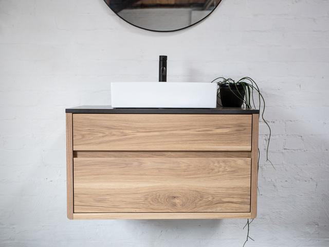 Olson American White Oak Bathroom Vanity in Raw Finish by Retrograde Furniture - American Oak, Bathroom Vanity, Floating Vanity