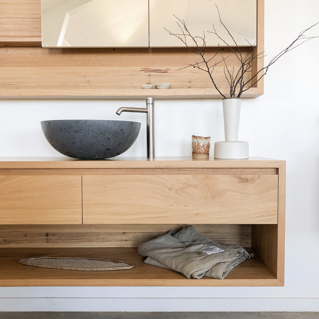 Kiama Floating Timber Bathroom Vanity by Bombora Custom Furniture - Timber Vanity, Bathroom Vanity, Wall Hung Vanity, Solid Timber Vanity, Custom Made Vanity, Australian Chestnut, Floating Vanity, Chestnut Vanity, Kiama Vanity, Bespoke Vanity
