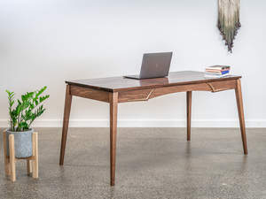 Aderyn Writing Desk by Pedullá Studio - Walnut, Brass, Inlay, Writing Desk, Custom Furniture, Handmade