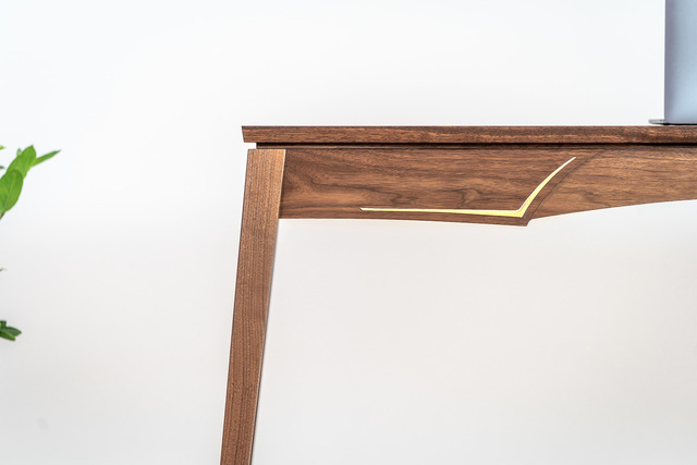 Walnut & Brass Writing Desk by Pedullá Studio - Walnut, Brass, Inlay, Writing Desk, Custom Furniture, Handmade