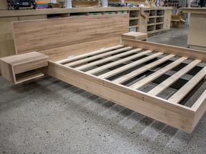 Floating Bed Frame by Pedullá Studio - Floating Bed, Blackbutt, Veneer, Side Tables