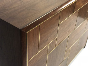 Walnut & Brass Cabinet by Pedullá Studio - Brass Inlay, Custom Cabinet, Storage, Shelving