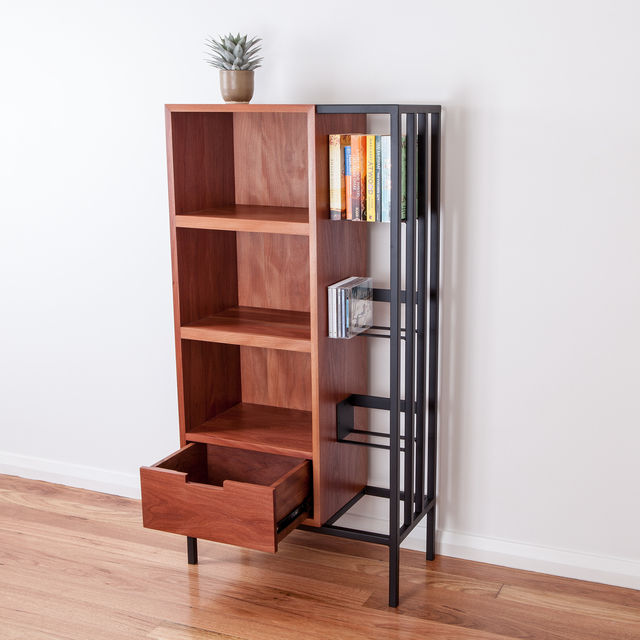 Storyline Bookcase by Ceri Frahm - Bookcase, Hand Made, Timber And Steel, Shelving, Storage, Bookshelf, Brushbox, Shelves, Display, Australian Timber