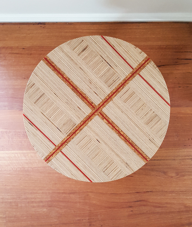 Plywood, cork and red acrylic stool / side table by Ceri Frahm - Plywood, Ply, Pattern, Bedside Table, Stool, Side Table, Ply Furniture, Minimal, Eclectic, Hand Made