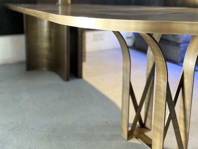 Custom handmade table in solid brass by Tibo Tournebize - Brass, Custom Table, Unique Design