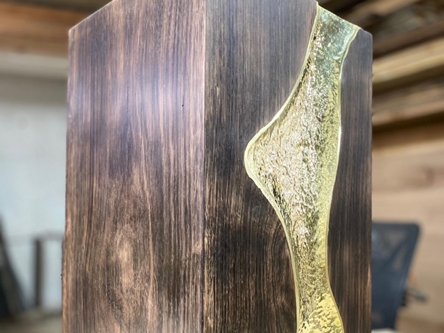 Solid hardwood stool with brass inlay. by Tibo Tournebize - Brass, Unique Design