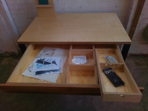 Artists desk by Tim Denshire-Key - Artist Furniture, Printmaker, Desk, Storage, Lino Cut, Etching