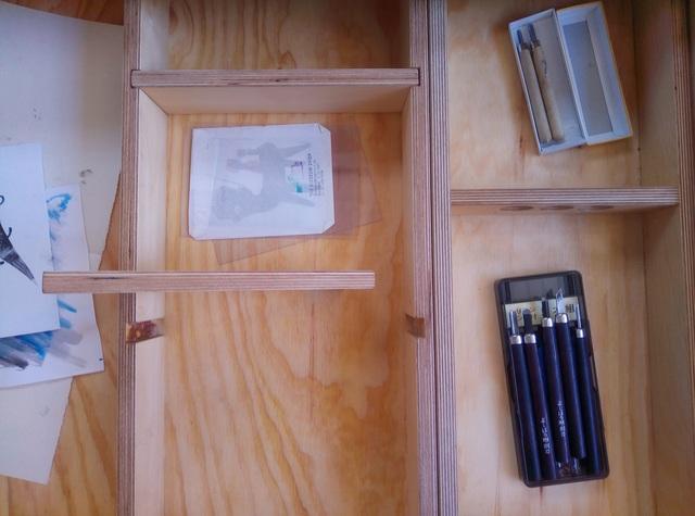 Artists desk by Tim Denshire-Key - Artist Furniture, Printmaker, Desk, Storage, Lino Cut, Etching
