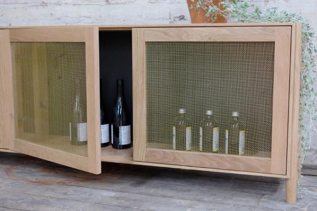 Drinks Cabinet by The Brae Furniture Workshop - American Oak, Brass Mesh, Drinks Cabinet