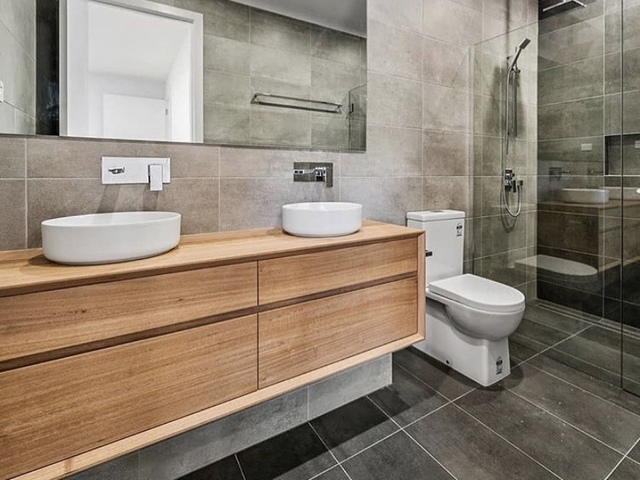 Chestnut vanity  by Zac Pearton - Vanity, Bathroom, Timber Vanity, Ensuite, Cabinet