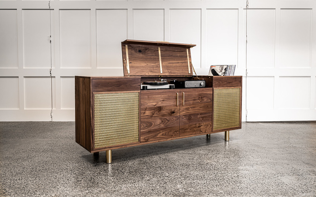 Walnut & Brass Record Player Cabinet by Pedullá Studio - Record Cabinet, Walnut, Brass, Record Storage