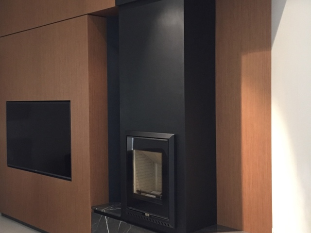 TV Fireplace by Ryan Kurz - Made By Design, Timber, Stone, Custom, Fireplace