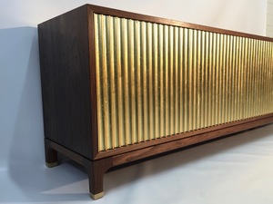 TV Console: American Walnut and Gold Leaf  by Matthew William  Parrish - TV Console, Media Console, Gold, Gold Leaf, American Walnut, Brass