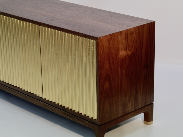 TV Console: American Walnut and Gold Leaf  by MWP  Furniture Design - TV Console, Media Console, Gold, Gold Leaf, American Walnut, Brass