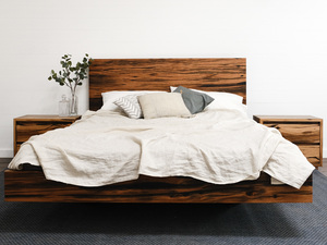 Floating Bed in Recycled Blackbutt by Retrograde Furniture - Custom Furniture, Recycled Timber