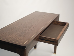 Oak Writing Desk by Matthew William  Parrish - Desk, Oak, Writing Desk, Stained, Brass