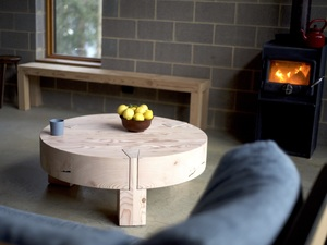 Wedgetail Coffee Table by Douglas Fir Design - Recycled Timber, Industrial, Round, Heavy, Modern, Rustic