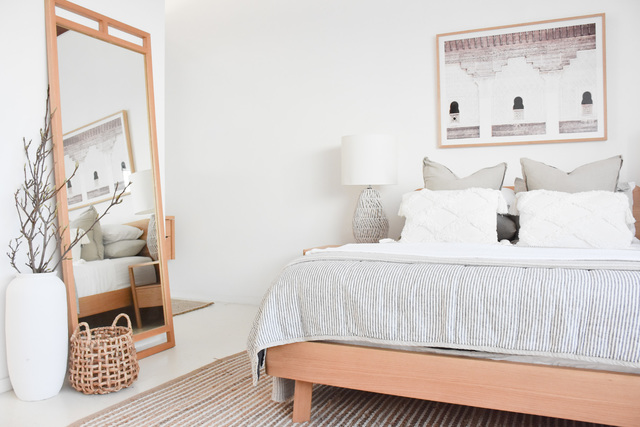 Inka Timber Bed Frame  by RAW Sunshine Coast  - Bed, Bedroom, Timber Bed, Scandi, Australian Made, Bedding, Bedroom Styling