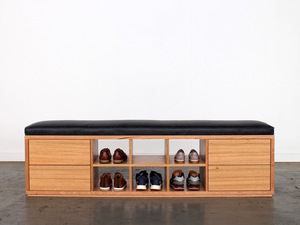 Shoe Cubby/Bench Seat + Drawers by GLENCROSS FURNITURE - Shoe Cubby, Bench Seat, Leather, Australian Timber, Entrance Table, Sideboard, Custom Design, Handmade, Bespoke, Storage