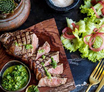 BBQ Porterhouse Steak with Chimichurri & Butter Lettuce Salad