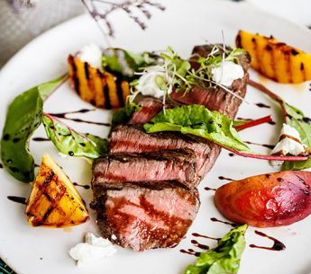 Premium Eye Fillet with Grilled Peach, Feta & Balsamic Reduction