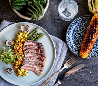 BBQ Scotch Fillet with Avocado & Charred Corn Salsa & Grilled Asparagus