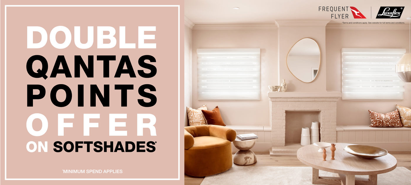 Luxaflex Softshades Double Qantas Points Promotion Banner image