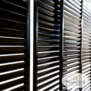 Weatherwell fixed louvre-black-aluminium shutters
